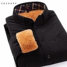 U & SHARK Winter Weichen Cord Herren Hemden Einfarbig Langarm Vintage Flanell Lässig Fleece-Shirt Männlichen Camisa Masculina