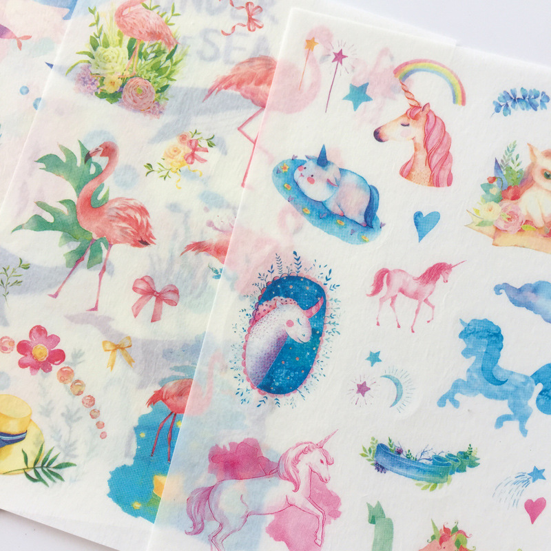 Fairy Tale World Unicorn Flamingo Paper Sticker Decoration Diary Scrapbooking Label Sticker Kawaii Korean Stationaries Stickers