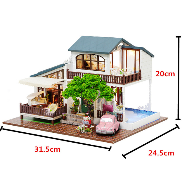 Handmade Villa Shaped Model Doll House with Furniture