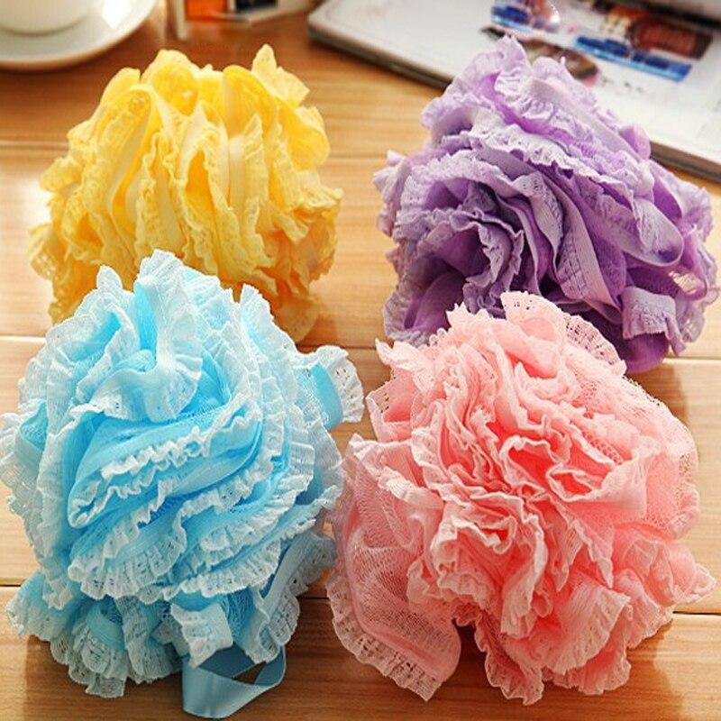 2PCS Loofah Flower Nylon Bath Ball Bath Tubs Cool Ball Bath Towel Scrubber Body Cleaning Mesh Shower Wash Sponge For Bathroom