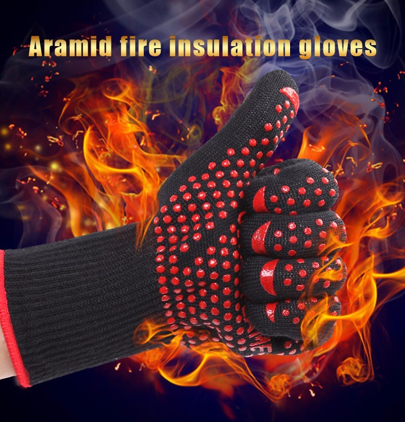 ULTRA FLAME (one pair)Red glue heat resistant glove ,BBQ oven glove,slip-resistant glove new product free shipping aramid fire insulation gloves heat resistant glove 932f bbq glove oven glove factory direct supply