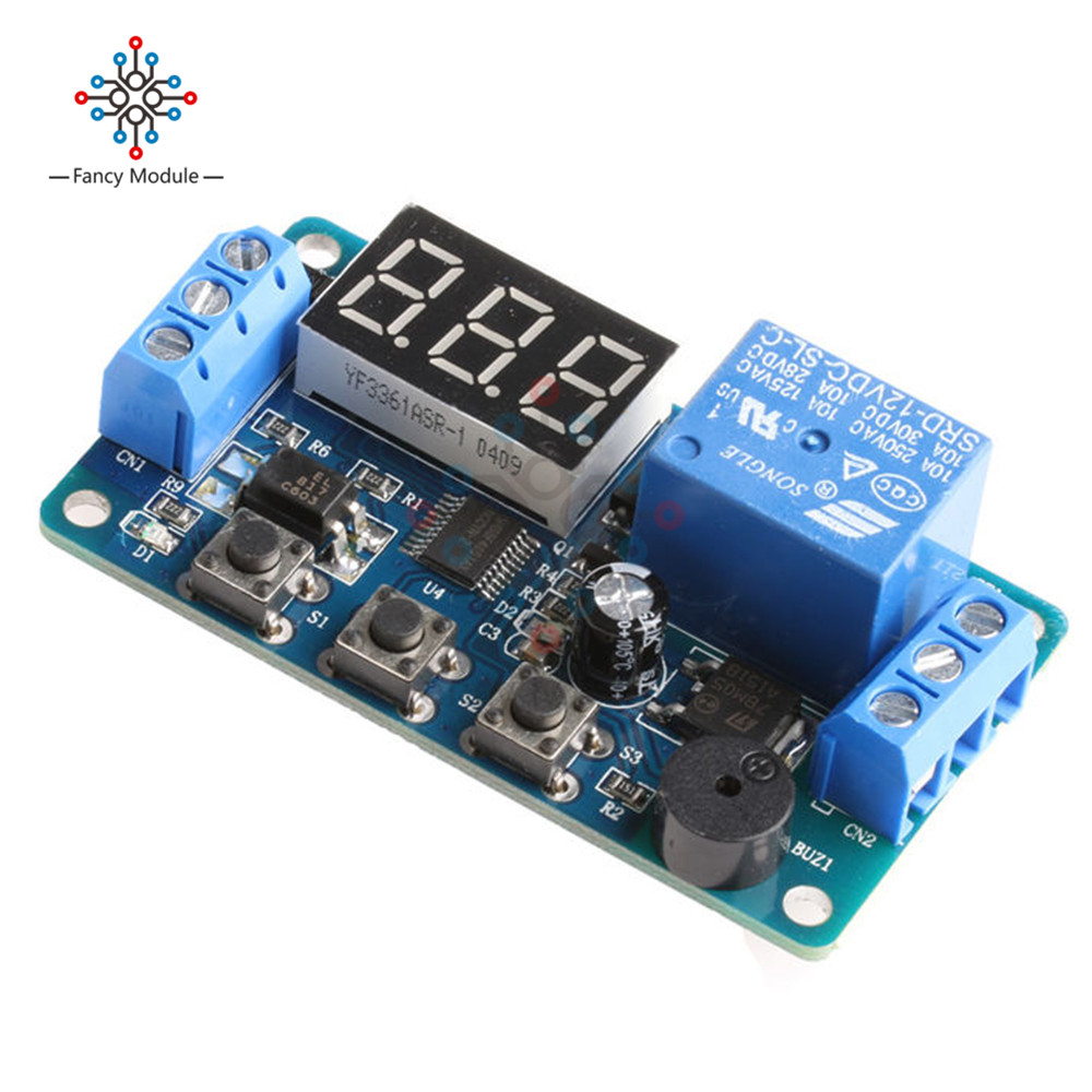 Dc 12v Programmable Timer Switch Trigger Cycle Time Delay Relay Circuit Led Display Module Board Car Buzzer