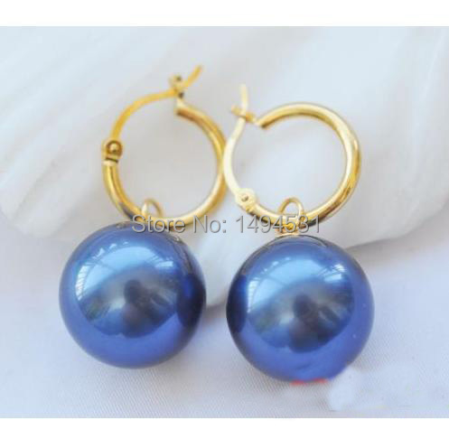 Wholesale Pearl Jewelry 16MM Jewelry Blue Color Round South Sea Shell Pearl Dangle Earrings Hot Sale XZN10