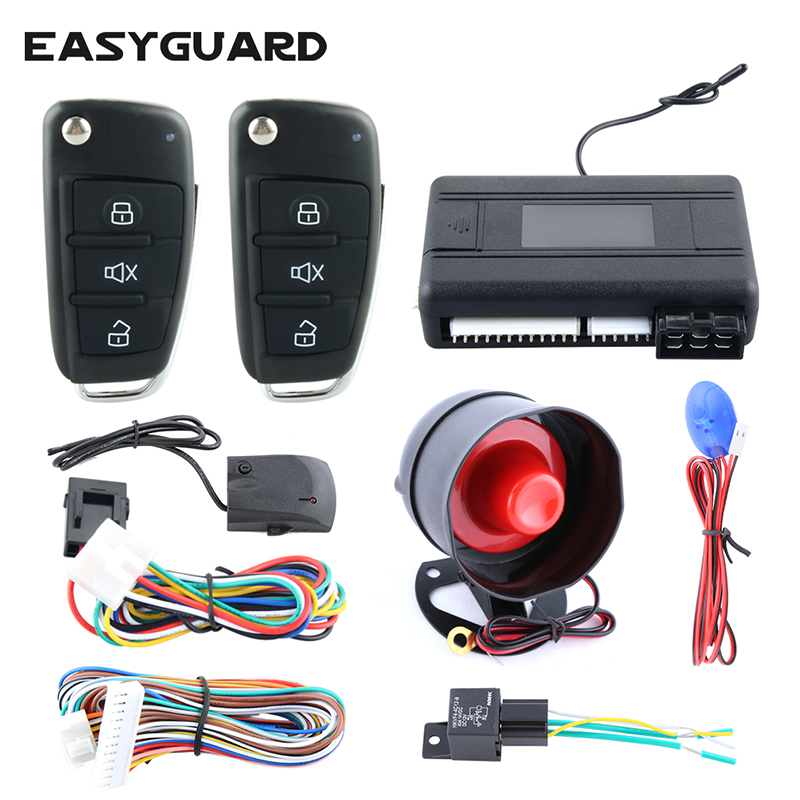 EASYGUARD One way car alarm kit remote engine start stop central door locking automation shock trigger alarm universal version
