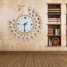 Luxury High Quality Large Antique Diamond Peacock Wall Clocks Living Room Creative Wall Clock Unique