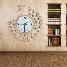 2017 Luxury High Quality Large Antique Diamond Peacock Wall Clocks Living Room Creative Wall Clock Unique