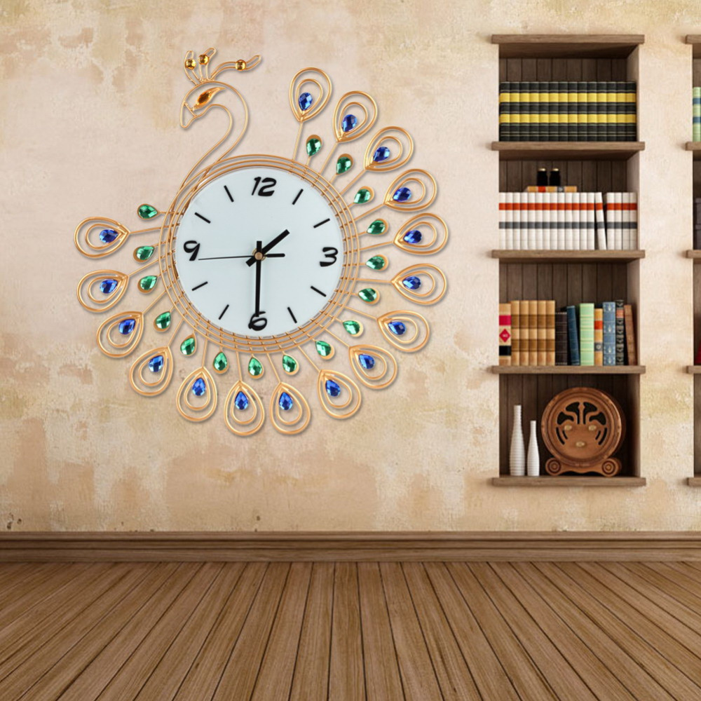 Luxe haute qualité grand Antique diamant paon horloges murales salon créatif horloge murale cadeau Unique décor à la maison