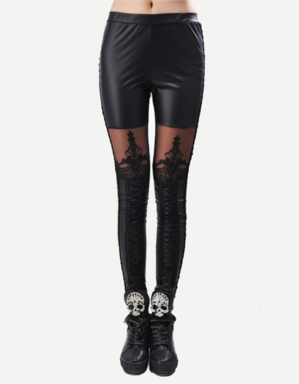 Black Legins Punk Gothic Fashion Women Leggings Sexy PU Leather Stitching Embroidery Hollow Lace Legging For Women Leggins 15 5