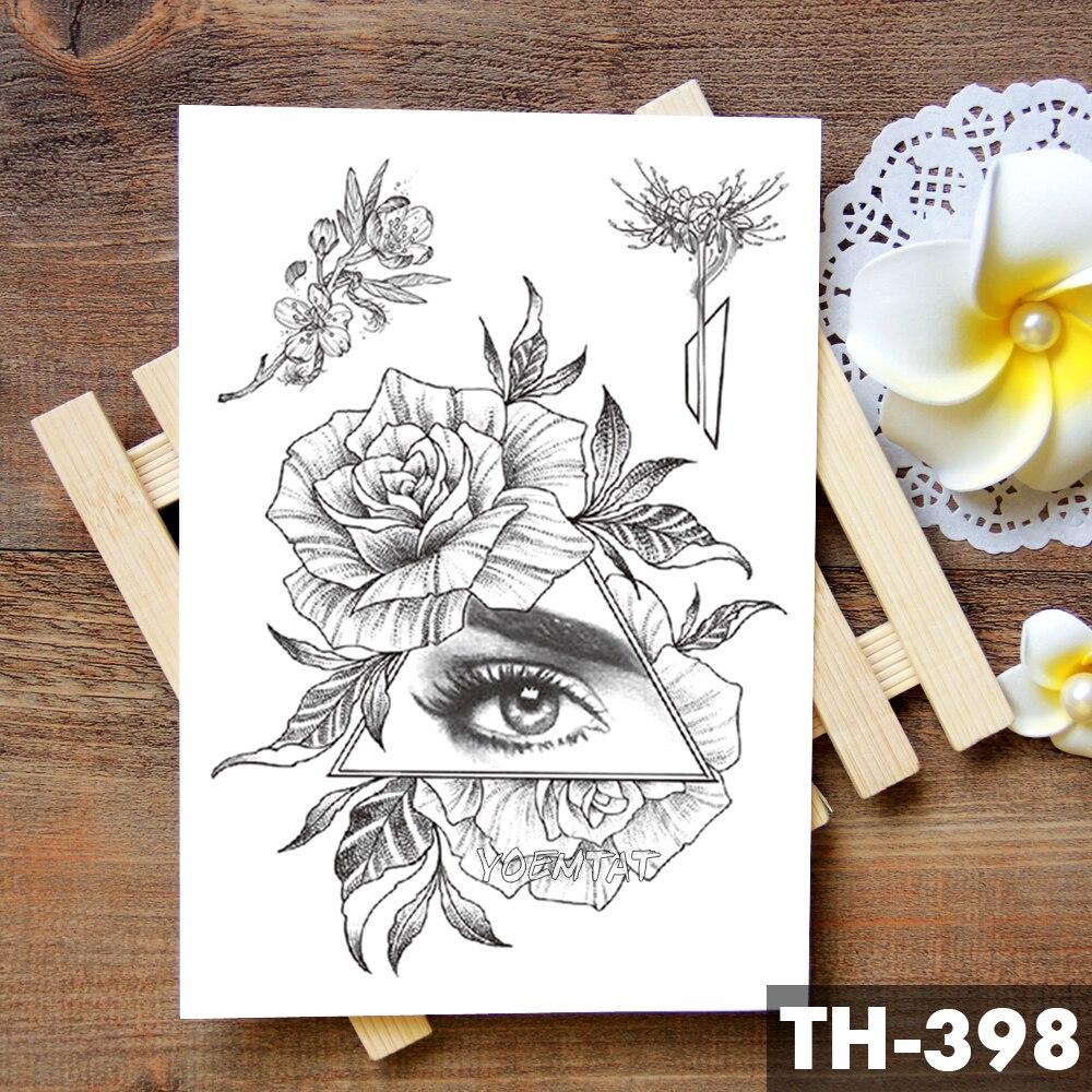 Geometric Flower Rose Eye Leaves Waterproof Temporary Tattoo Sticker Diamond Peony Black Tattoos Body Art Arm Fake Tatoo 4
