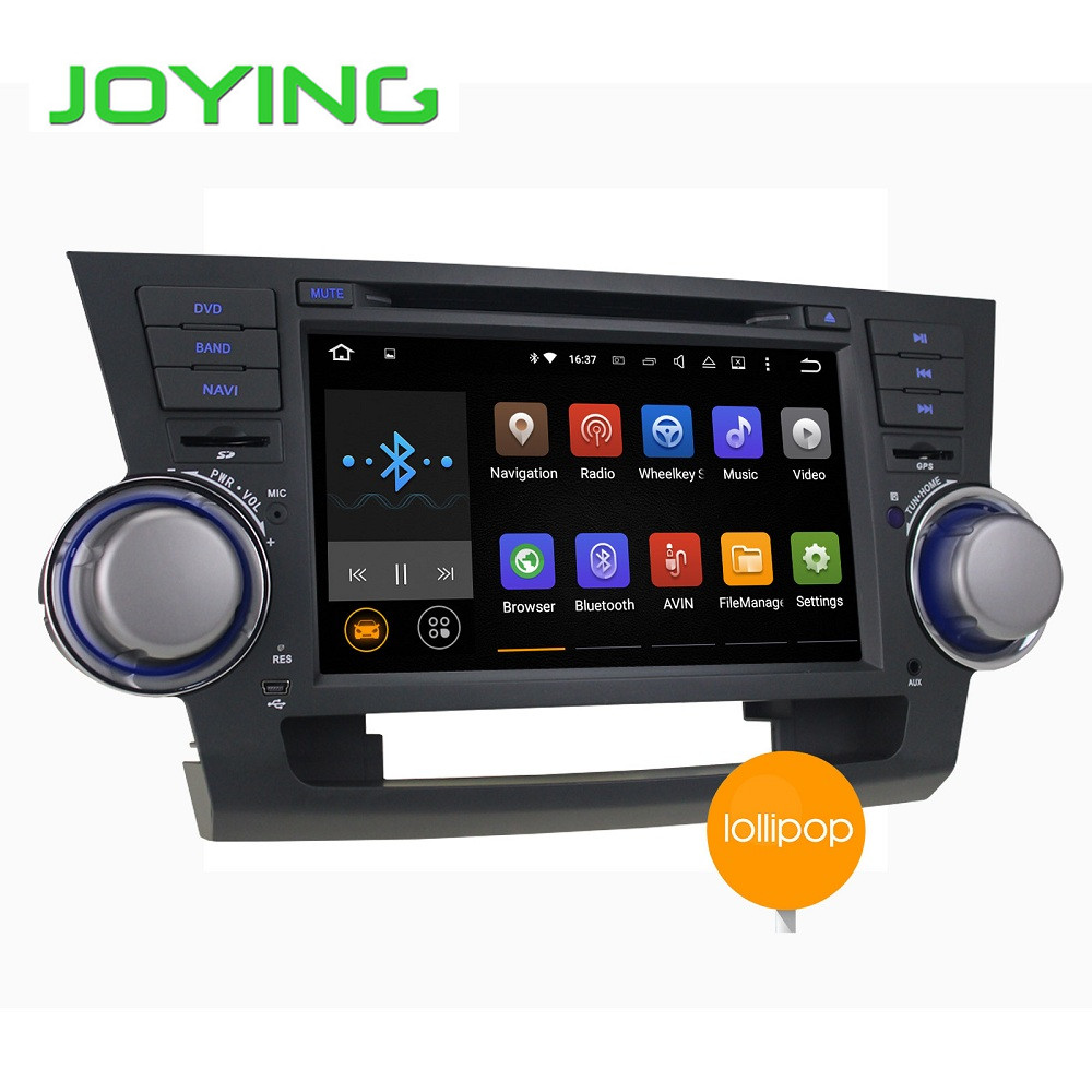 1024 600 Quad Core Android 5 1 for TOYOTA HIGHLANDER Kluger 2008 2009 2010 2011 2012