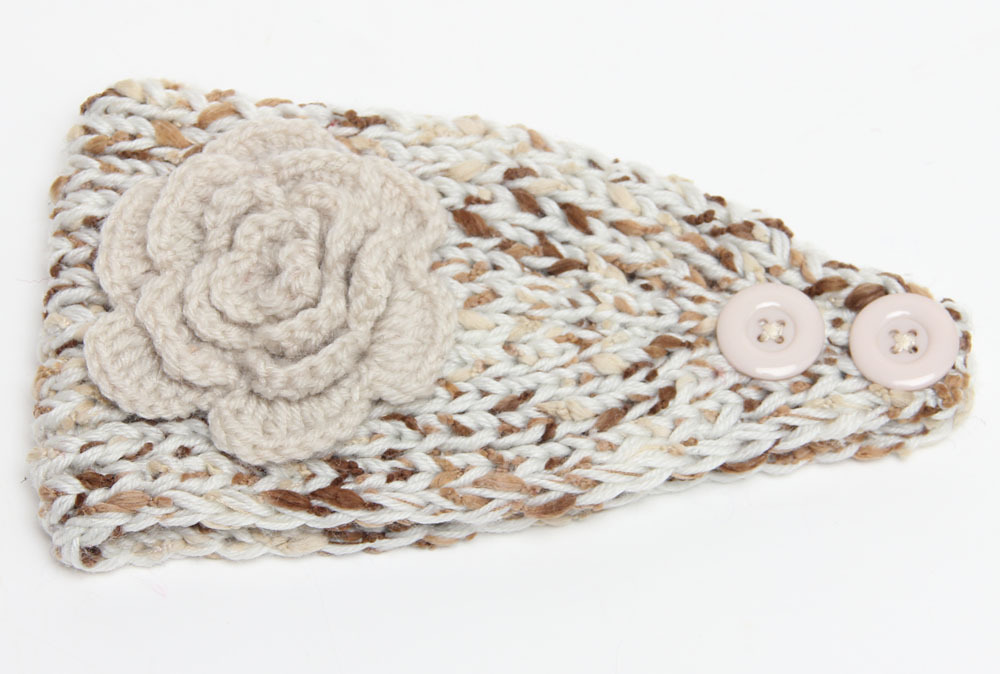 Women/'s Ear Warmer Crochet Earwarmer Headband Head Wrap With Button Closure and Flower ANY COLOR