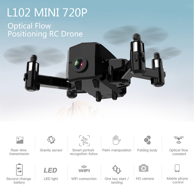 L102 Mini RC Drone with Camera 420P 720P Wifi FPV Optical Flow Positioning Smart Follow Gesture Photo Foldable Quadcopter Toys