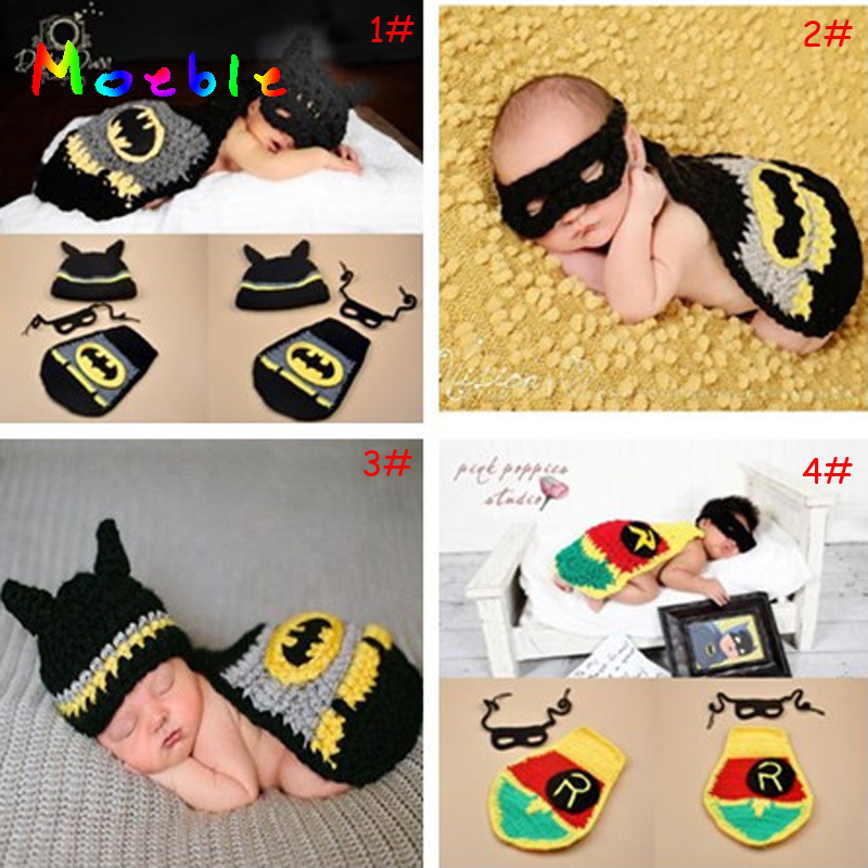Crochet Batman Baby Photography Props Newborn BABY Super Hero Outfit Infant BOYS Coming Home Clothes Batman Costume 1set cute dinosaur baby boys crochet photo props animal costume knitted infant baby coming home outfits newborn photography props