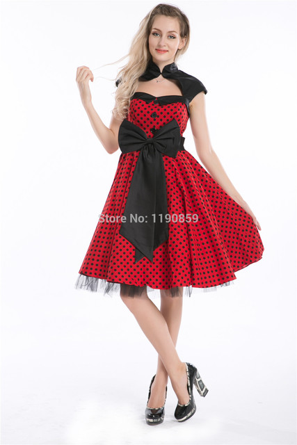 free shipping Hot sales cheapest 50s Polka dots vintage pinup dress ...