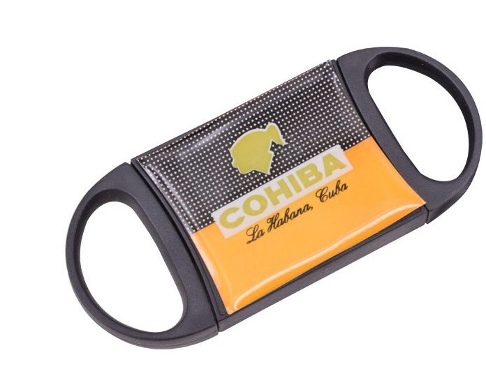 Cohiba Portale Gadgets Black Plastic Handle Stainless Steel Sharp Double Blade Cigar Cutter cu429 image