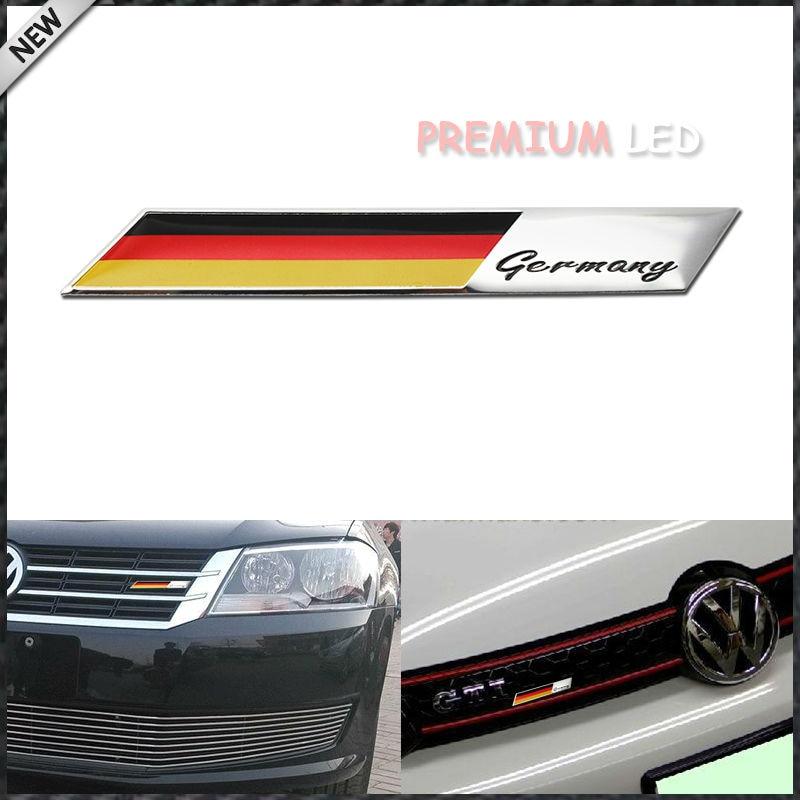 Aluminum Plate Germany Flag Emblem Badge For Car Front Grille Side Fender Trunk For Audi VW Porsche BMW, etc Kidney/Front Grill s line sline front grille emblem badge chromed plastic abs front grille mount for audi a1 a3 a4 a4l a5 a6l s3 s6 q5 q7 label