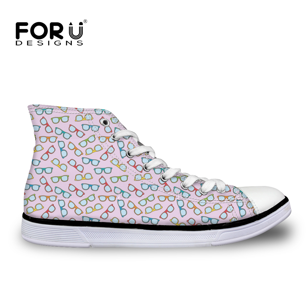 Shoes Fine Forudesigns Novelty Glasses Pattern Fashion High Top Lace-up Women Canvas Flats Shoes Casual Womens Sneakers Vulcanize Footwear