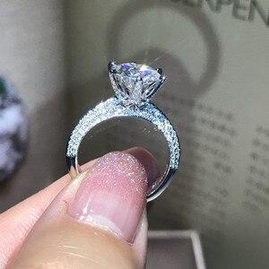 Image 4 - خاتم من الفضة الإسترلينية 100% حقيقي 925 من shucong يُصنع يدويًا خاتم دائري من الزركون 0.8ct AAAAA خاتم خطوبة زفاف للنساء والرجال بيجو
