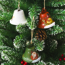 цена на Decorative Claus Pendants Santa Green Geometric Ornaments Snowman Red Claus Christmas Bell White Hanging