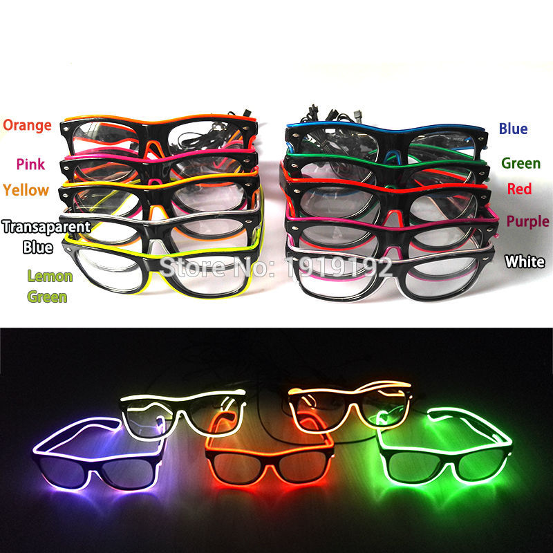 Fashion Flashing El Wire Glasses Light Up Glowing Halloween Party Rave Costume Men's Glasses Apparel Accessories