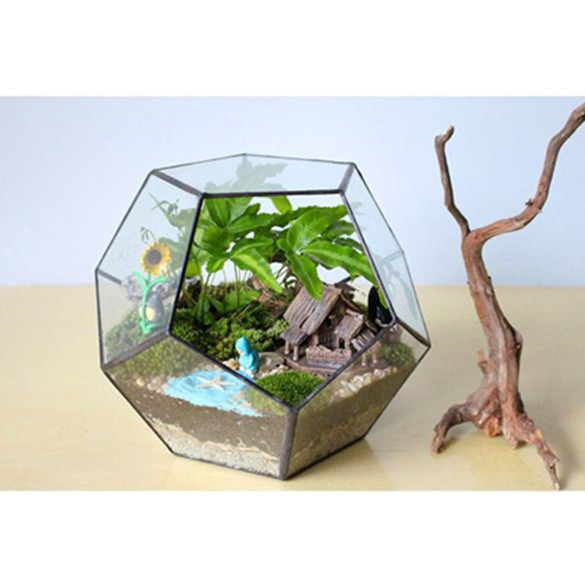 table dodecahedron glass terrarium soldered glass greenhouse gardenhouse planter terraria for. Black Bedroom Furniture Sets. Home Design Ideas