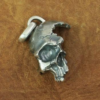 925 Sterling Silver Broken Damaged Half Face Skull Mens Biker Pendant TA152