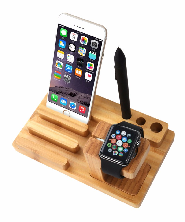 For iPhone Apple iWatch Wood Charge Holder (15)