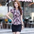 Женщины Блузки Лето Стиль Плюс Размер L-2XL 3XL 100% Хлопок С Коротким Рукавом Комфортно Рубашки Повседневные Платья blusa рубашки женщины blusas