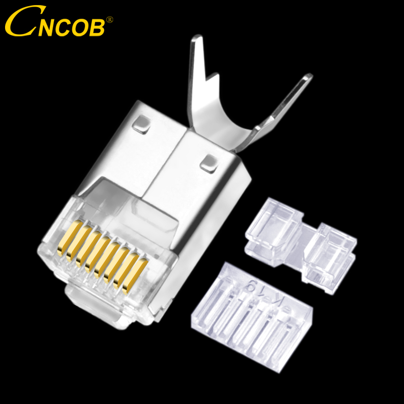 CNCOB Cat6 FTP with clip, Ethernet connector RJ45 modular crystal plug Gigabit Ethernet connector 8P8C network cable connector