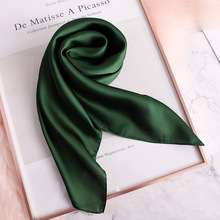 2019 New Fashion Summer Silk Square Scarf Solid Women Satin Neck Hair Tie Band Soft Beach Hijab Head Female Foulard Free Shiping
