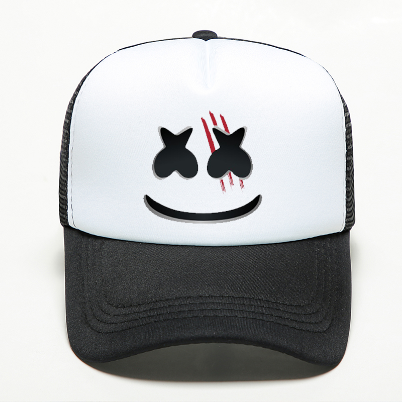 New Fashion Marshmello Knife Face   Baseball     Caps   Punk Style Hip Hop Women Men's Hat Pure Handmade Printing Mesh Breathable   Cap