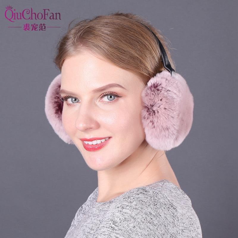 Fashion Real Rabbit Fur Women Earmuffs Pink Comfortable Warm Ear Muffs Ear Warmers For Girls Adjustable Winter Ear Protector