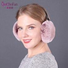 Fashion Real Rabbit Fur Women Earmuffs Pink Comfortable Warm Ear muffs Warmers For Girls Adjustable Winter Protector
