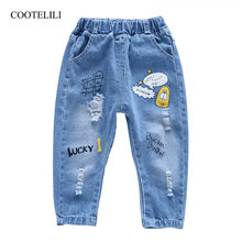 "COOTELILI 80-130cm ""Lucky""2019 Autumn Children Ripped Jeans For Kids Trousers Children Denim Pants For Boys Casual Elastic Waist(China)"