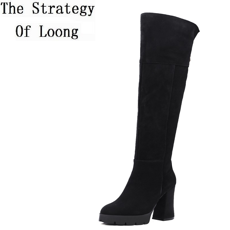2017 New Arrival Winter Cow Suede Chunky Square Heel Women Boots Round Toe Plush Basic Zipper Over The Knee Boots ZY170901 2017 new arrival winter plush genuine leather basic women boots knight zipper round toe low heel knee high boots zy170904
