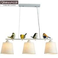 Qiseyuncai Nordic three headed restaurant vogel kronleuchter einfache kreative persönlichkeit tisch bar bar beleuchtung Freies verschiffen-in Pendelleuchten aus Licht & Beleuchtung bei
