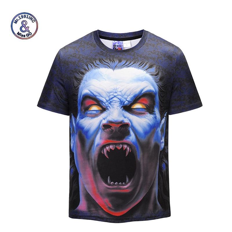 Mr.1991INC New Style Men T-shirt 3d Print Zombie Clown 3d Tshirts Poker Anime Hip Hop Summer Tops Tees Fashion wholesale