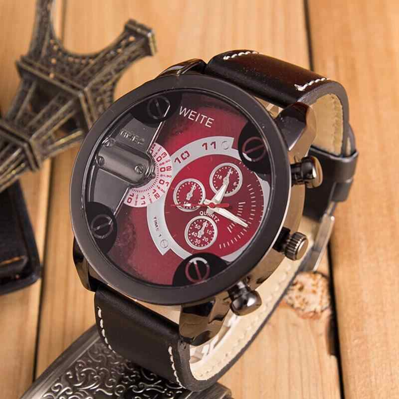 2018 Hour Watch Men Watches Creative Fashion digital military Top Brand Luxury PU Leather Sport Military Quartz WristWatch Saat