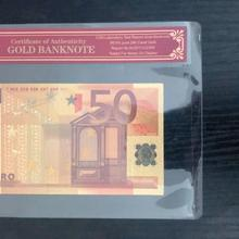 Поддельные золотые Банкноты евро 50 евро чистая Золотая фольга бумага деньги золото банкноты с КоА рамкой для сбора банкнот