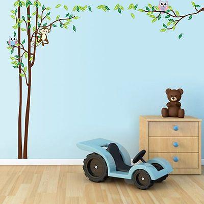 Mignon Jungle hibou singe vinyle Stickers muraux enfants bébé ...