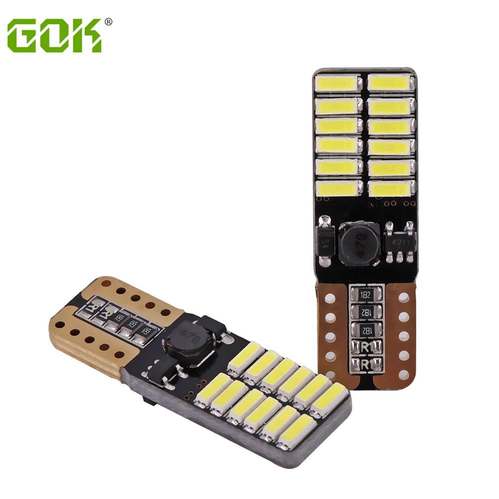 10 unids / lote T10 bombilla led 194 T10 led canbus t10 24SMD 4014 LED luz de señal del coche canbus sin error led parking car styling lámpara antiniebla