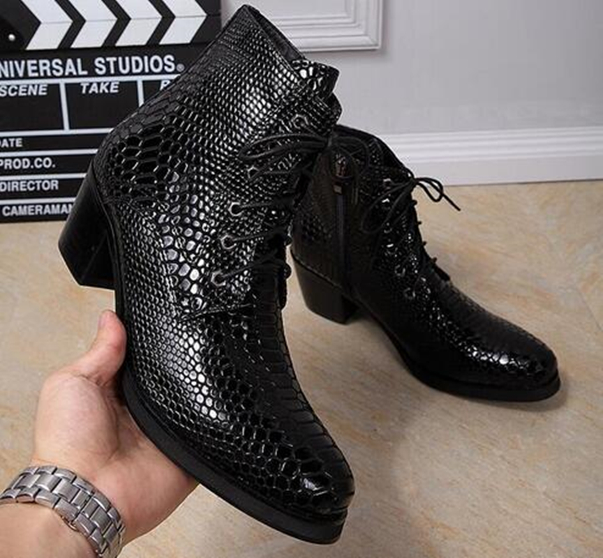 Genuine Leather Spring Autumn Men Boots Fashion High Heel Fish Scale Ankle Boots Round Toe Lace Up Zipper Formal Men Shoes недорго, оригинальная цена