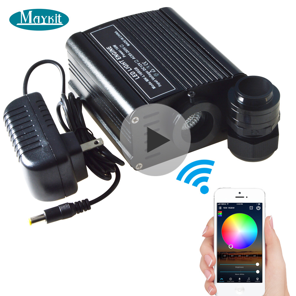 Maykit WIFI Control By Phone 16W RGB LED Light Engine For Fiber Optic Lighting Music Control DMX Control Timing Functions