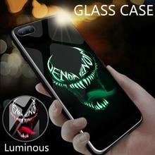 Coque Luxuy Marvel Deadpool Spiderman Venom Glass Luminous Phone Case For iPhone XR XS Max 6 6S 7 8 Plus Original Avengers