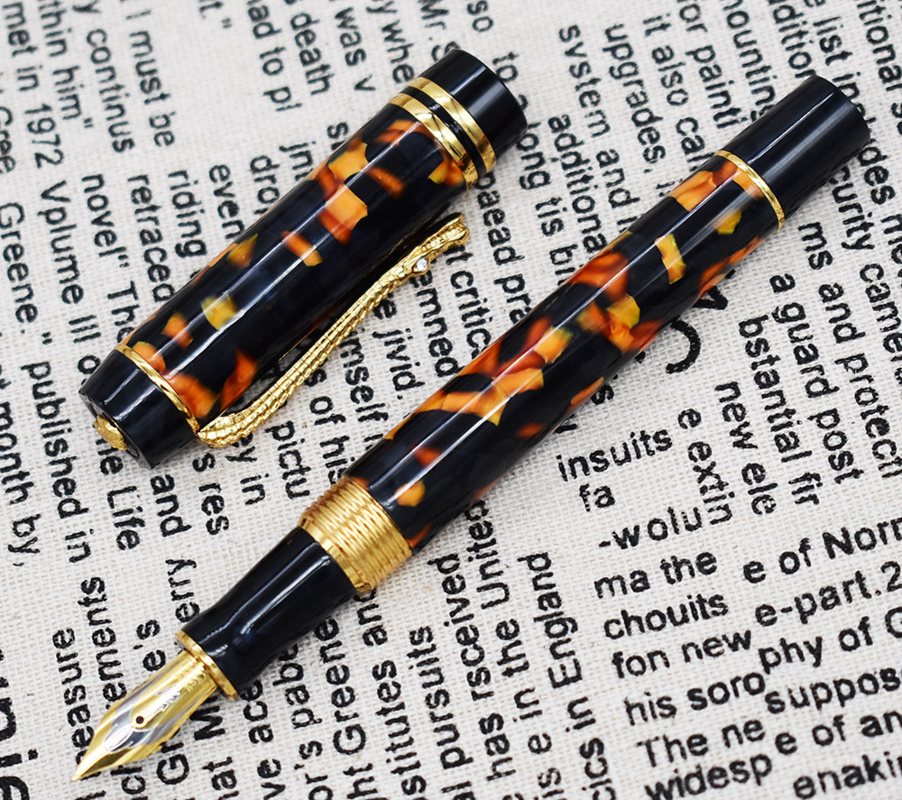 Marble Celluloid Fountain Pen 22KGP Medium Nib Writing Gift Ink Pen Amber Green Red Flowers Nice Pattern with Crocodile Clip in Fountain Pens from Office School Supplies