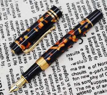 Marble Celluloid Fountain Pen 22KGP Medium Nib Writing Gift Ink Pen, Amber/Green/Red Flowers Nice Pattern with Crocodile Clip crocodile marble celluloid fountain pen 22kgp medium nib writing gift pen blue flowers pattern crocodile clip office supplies