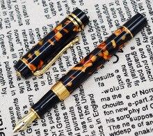 Marmeren Celluloid Vulpen 22KGP Medium Penpunt Schrijven Gift Inkt Pen, amber/Groen/Rode Bloemen Mooi Patroon met Krokodil Clip