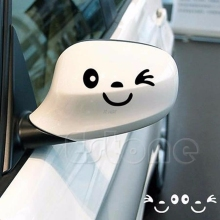 2Pcs 3D Design Smile Face Decoration Decal Sticker For Car Side Mirror Rearview