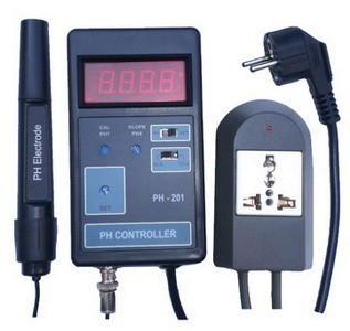 PH 201 Ph Meter and Value Controller with Probe and HI LO action function switch
