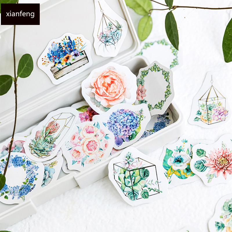 46pcs /Pack Flowers And Plants Mini DIY Decorative Stickers Scrapbooking Diary Album Decor Stick Label School Office Supply